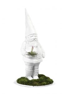 White Garden Gnome with moss